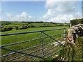 SX7062 : Grazing fields next to Bloody Pool Cross by David Gearing