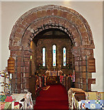 NY3056 : St Peter's Church, Kirkbampton - Norman chancel arch by Rose and Trev Clough
