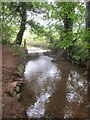 ST5862 : Weir in the stream above Paradise farm house by Dr Duncan Pepper
