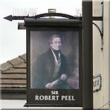 SJ8989 : Sir Robert Peel: Pub sign by Gerald England