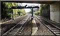 SS9079 : Signal gantry near Bridgend railway station by Jaggery