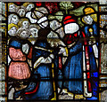 SO7745 : Detail, Medieval stained glass, Great Malvern Priory by J.Hannan-Briggs