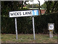 TM0959 : Wicks Lane sign by Adrian Cable
