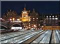 NT2573 : Edinburgh Waverley Station roof at night by Paul Harrop