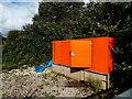 SS9082 : Orange box alongside the Maesteg Line railway south of Sarn by Jaggery