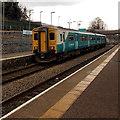 ST0799 : Merthyr Tydfil train at Merthyr Vale station by Jaggery