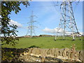SE1021 : Pylons in the field, Exley, Halifax by Michael Steele