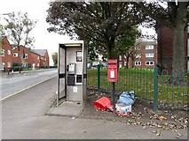 SD9205 : Phone box and post box on Henshaw Street by Gerald England