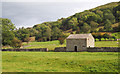 SE0185 : Barn in dry stone wall, Waldendale by Trevor Littlewood
