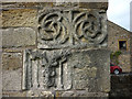 SD7746 : Carved stonework, gateway near Sawley Abbey by Karl and Ali