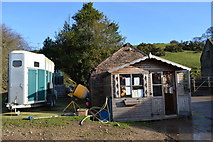 SJ9054 : Office and trailer at Lower Stonehouse Farm riding school by Jonathan Hutchins