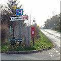 SP0974 : All the signs – junction of Station Road and Rumbush Lane by Robin Stott