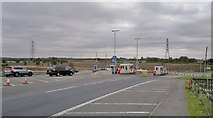 SK8274 : Toll booths on A57  at Dunham bridge by Chris Morgan