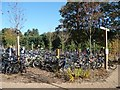 TL0037 : 'Village Square' cycle park, Woburn Forest by Christine Johnstone