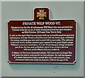 SJ8989 : Plaque to Private Wilf Wood V.C. by Gerald England