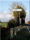 TM1888 : Roadsign on the A140 Ipswich Road by Geographer