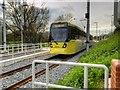 SJ8092 : Metrolink Tram at Sale Water Park by David Dixon