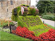 TL9925 : Colchester Castle - floral tank display by Chris Allen