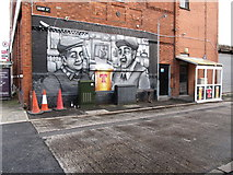 J3674 : Tennents Beer Mural on the Hope Street gable of Tennents at the Con Club, Newtownards Road by Eric Jones