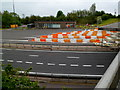 ST5689 : Old Severn Bridge toll office and lane dividers, Aust by Jaggery