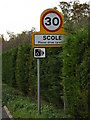TM1578 : Scole Village Name sign by Adrian Cable