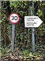 TM3555 : Roadsign & Tunstall Community Centre sign by Adrian Cable