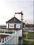 TF3243 : Signal and signal cabin at Boston swing bridge by Alan Murray-Rust