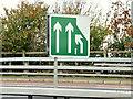 """J3776 : """"Merging lanes"""" sign, Sydenham bypass, Belfast (November 2014) by Albert Bridge"""