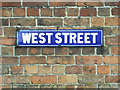 SP2764 : Enamel street nameplate, West Street, Warwick by Robin Stott
