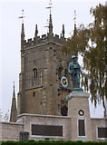 SP0343 : Evesham - War Memorial and Abbey remains by Chris Allen