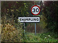 TM1683 : Shimpling Village name sign on Dickleburgh Road by Adrian Cable
