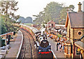 SO7679 : Arley station, Severn Valley Railway, with train 1990 by Ben Brooksbank
