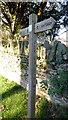 ST3996 : Usk Valley Walk signpost, Llantrisant by Jonathan Billinger