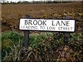 TM3684 : Brook Lane sign by Adrian Cable