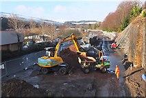 NT4836 : Borders Railway work in Low Buckholmside, Galashiels (2) by Jim Barton