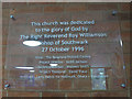 TQ3374 : St Barnabas, Dulwich: dedication plaque by Stephen Craven