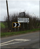 TL1957 : Roadsigns on the B1046 Potton Road by Adrian Cable