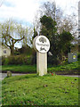 TM3473 : Huntingfield village sign by Adrian S Pye