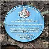 SJ9995 : Blue plaque for Edmund Shaa by Gerald England
