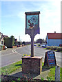 TM1274 : Yaxley village sign and Old Norwich Road by Adrian S Pye