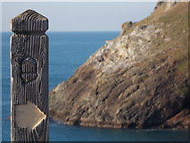 SW8576 : Trevose Head: a South West Coast Path marker by Chris Downer