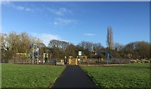 SJ8545 : Lyme Valley Park: play area by Jonathan Hutchins