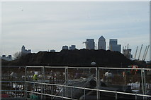 TQ4179 : View of Canary Wharf and the O2 from the end of the Thames Path near Thames Barrier Park #2 by Robert Lamb