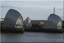 TQ4179 : View between two gates of the Thames Barrier from Thames Barrier Park by Robert Lamb