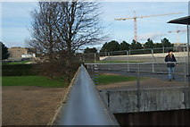 TQ4179 : View along the railings towards Thames Barrier Park by Robert Lamb
