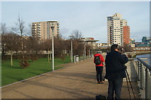 TQ4179 : View of Meadow Court, Parkside Court and Waterside Heights from Thames Barrier Park #4 by Robert Lamb