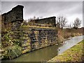 SD7807 : Railway Bridge Abutments, Manchester, Bolton and Bury Canal by David Dixon