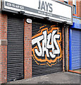 J3673 : Decorated shutter door, Belfast (January 2015) by Albert Bridge