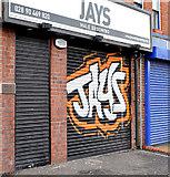 J3673 : Decorated shutter door, Belfast (January 2015) by Albert Bridge