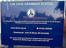 SK4003 : The Dixie Grammar School nameboard in Market Bosworth by Jaggery